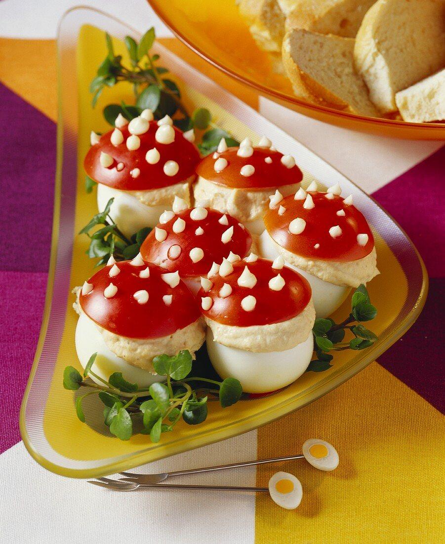 Fly agaric eggs with tuna cream