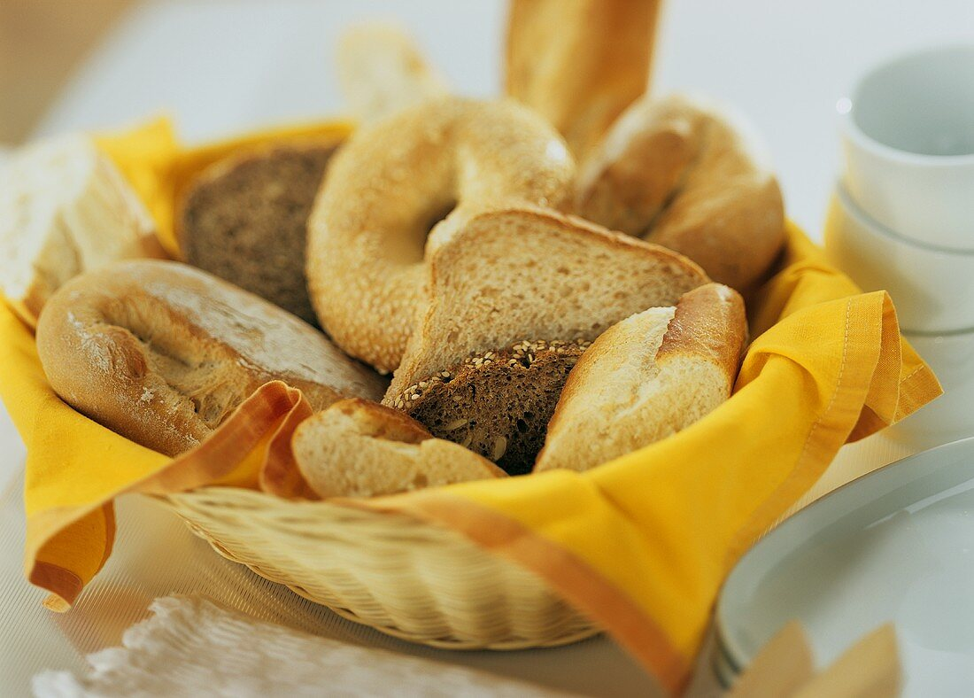 Bread basket with assorted baked goods
