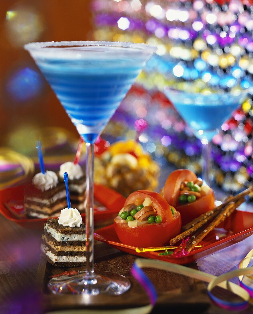 Party snacks and Blue Curacao cocktail