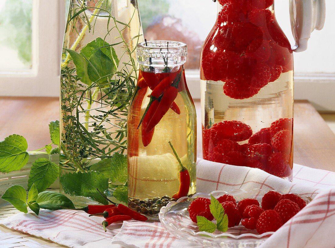 Herb oil, chili oil and raspberry vinegar