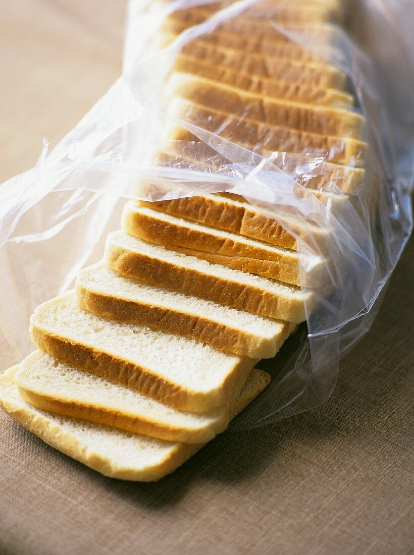 Slices of white bread in a plastic bag