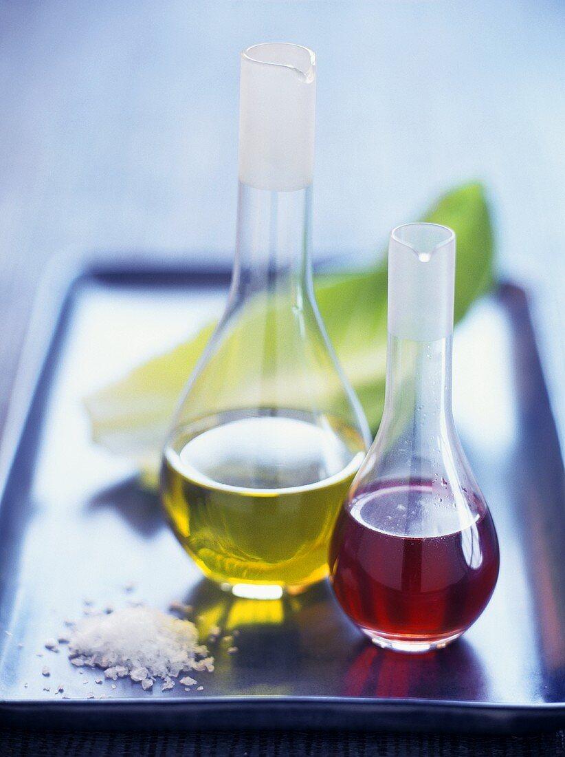 Red wine vinegar, olive oil and salt