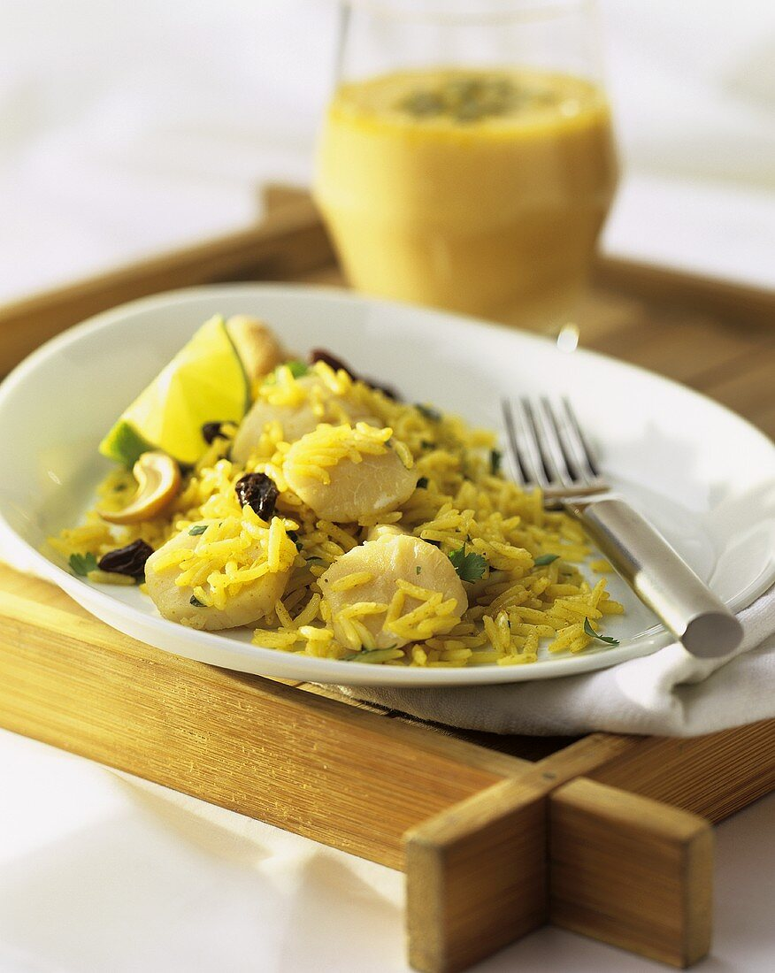 Kedgeree with scallops (English rice dish)