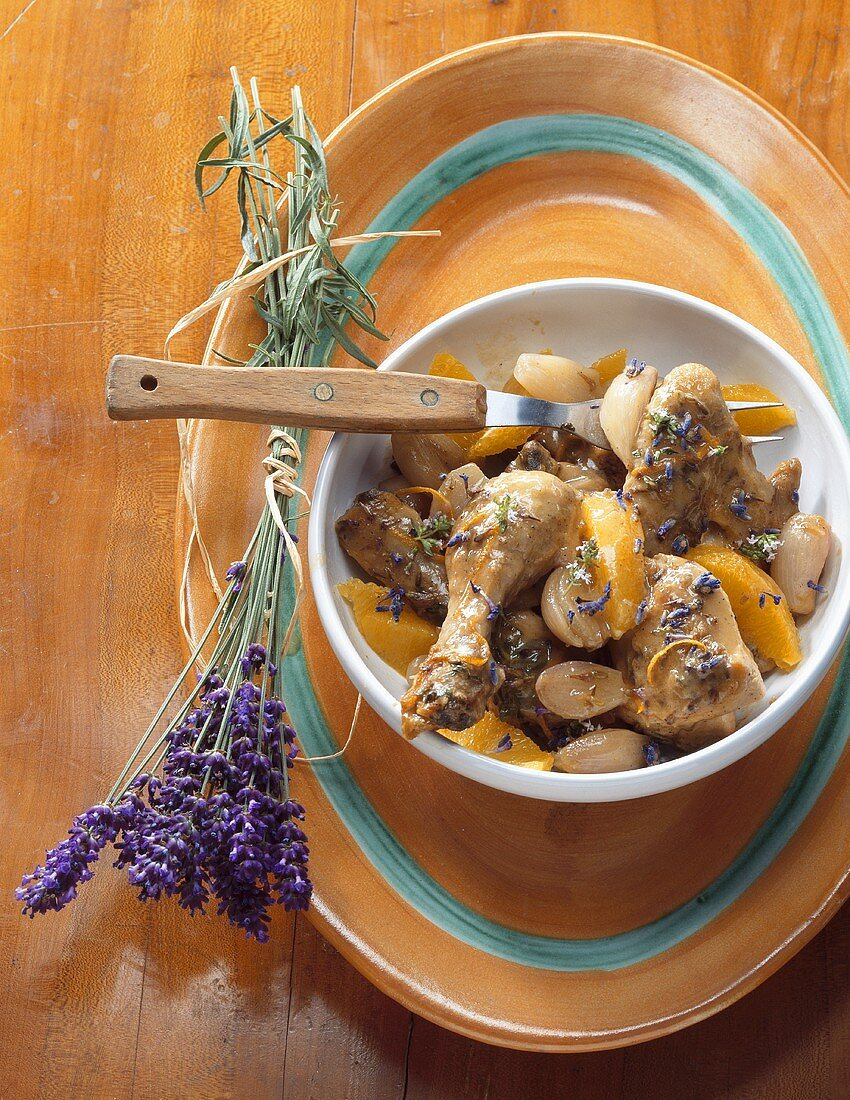 Braised chicken with lavender, shallots and oranges