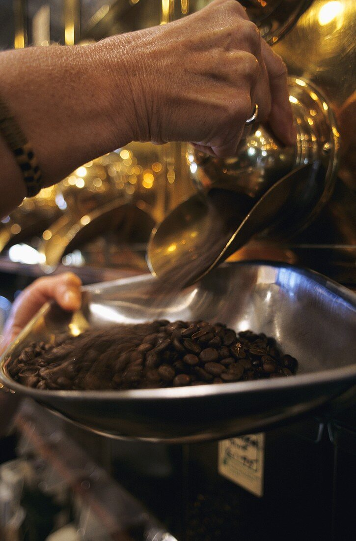 Taking coffee beans out of a storage container