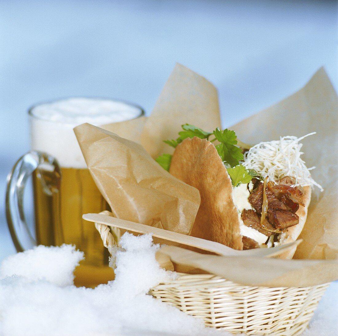 Kebab in pita bread