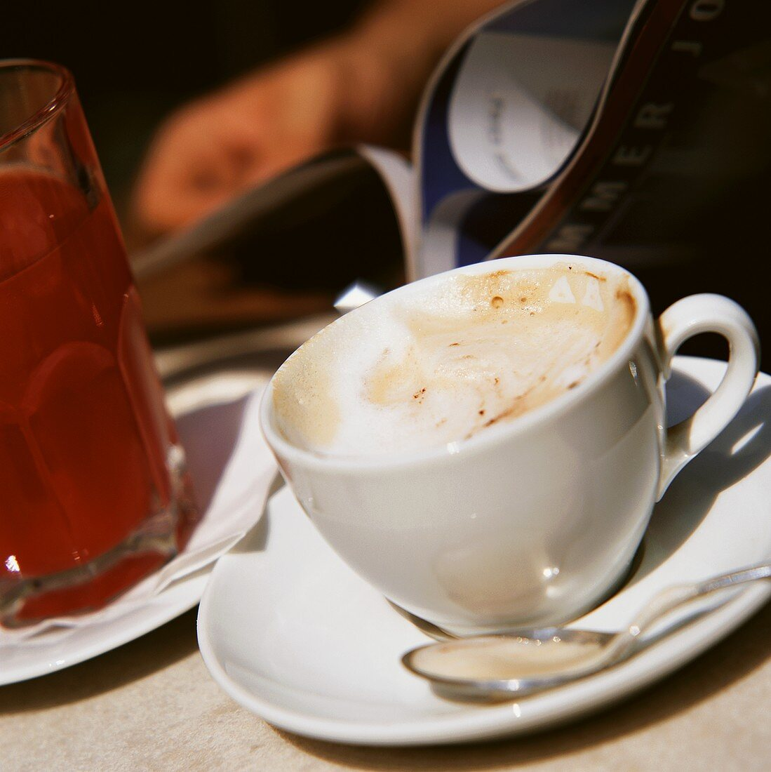 Cappuccino and orange juice