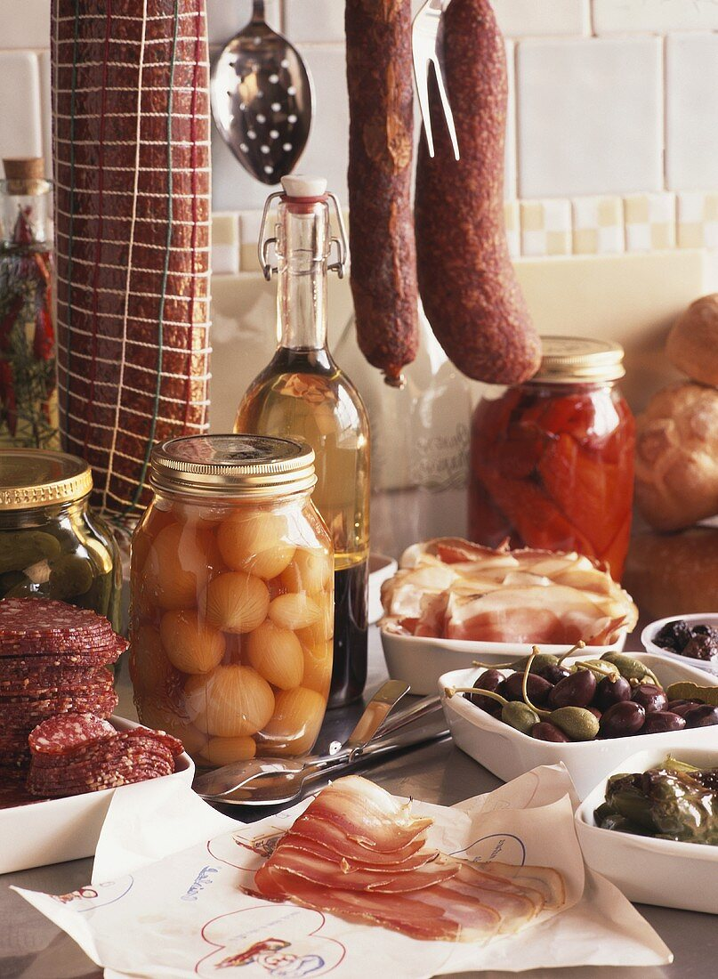 Pickled vegetables and sausages in a delicatessen