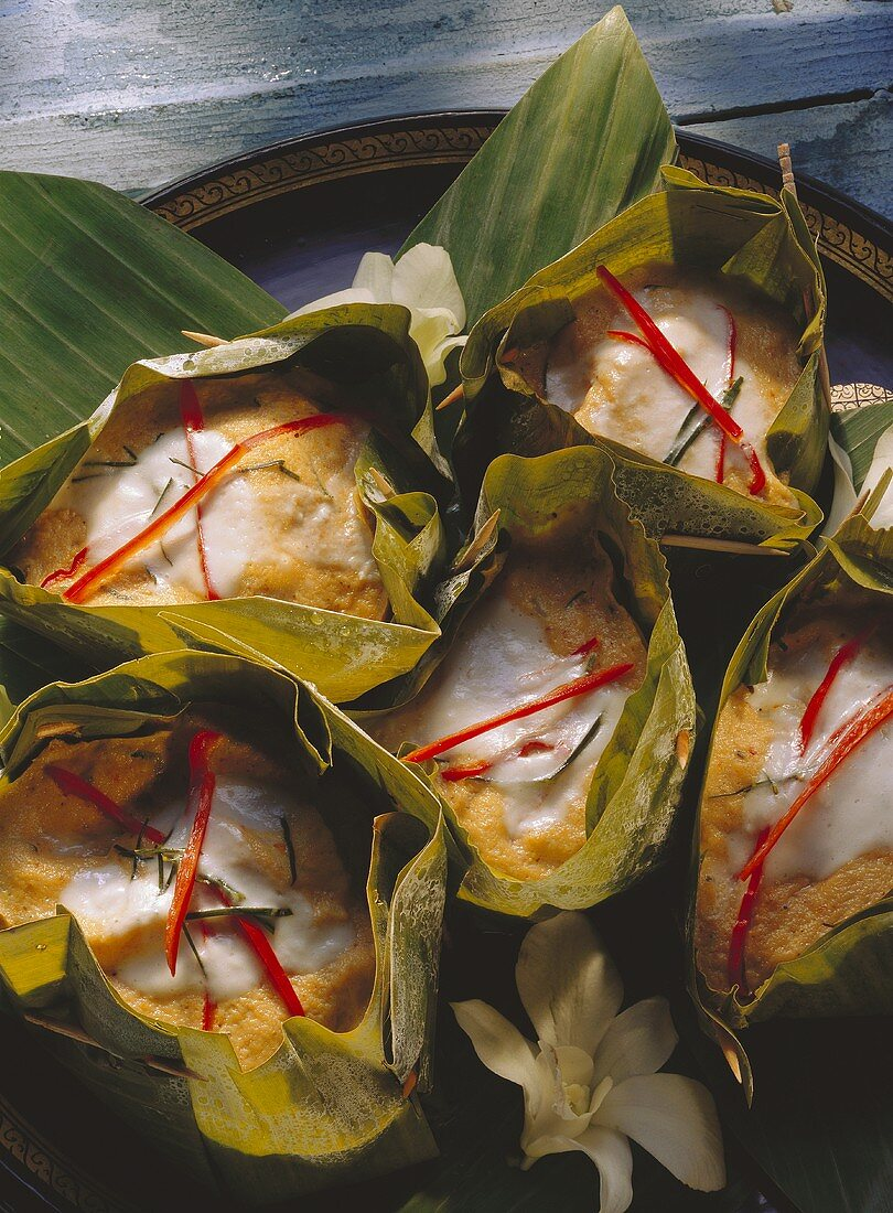 Fish Souffle in Banana Leaves