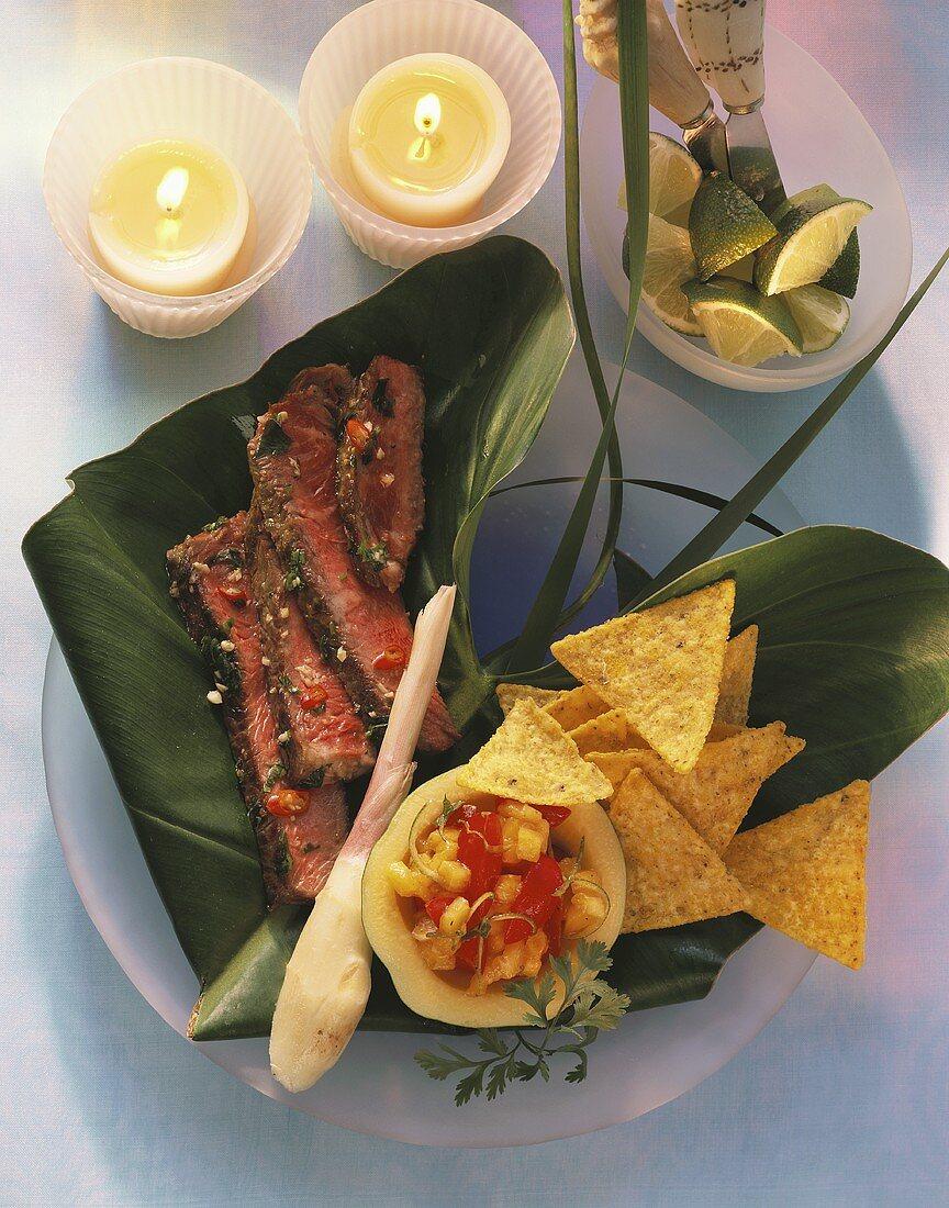 Jamaican steaks with salsa