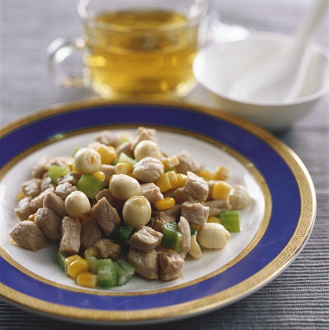 Pork with lotus seeds (China)