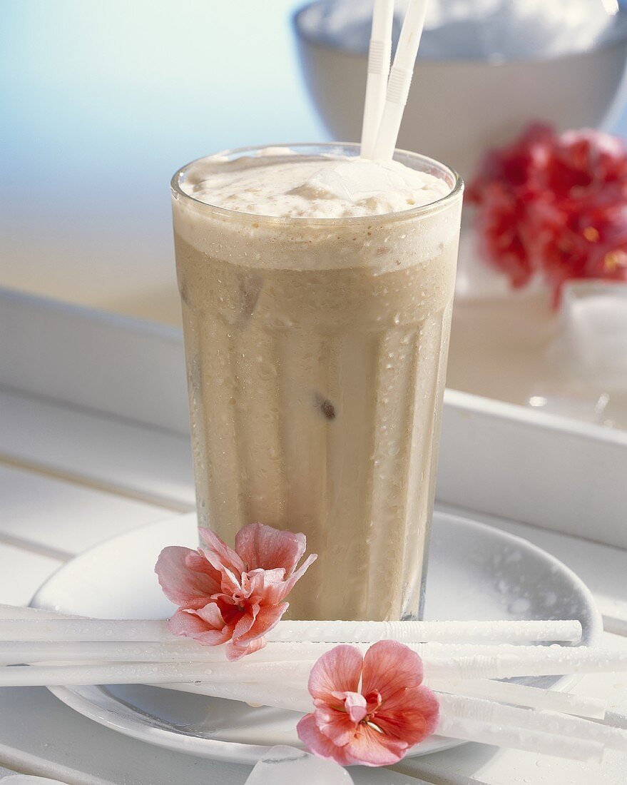 Iced coffee with almond liqueur