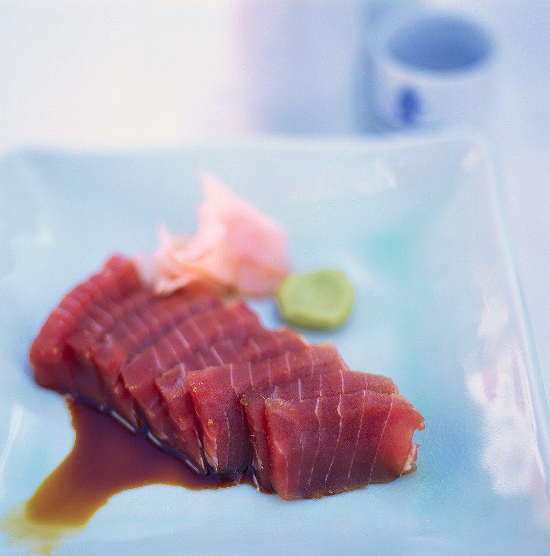 Fatty tuna (Toro) with wasabi and preserved ginger