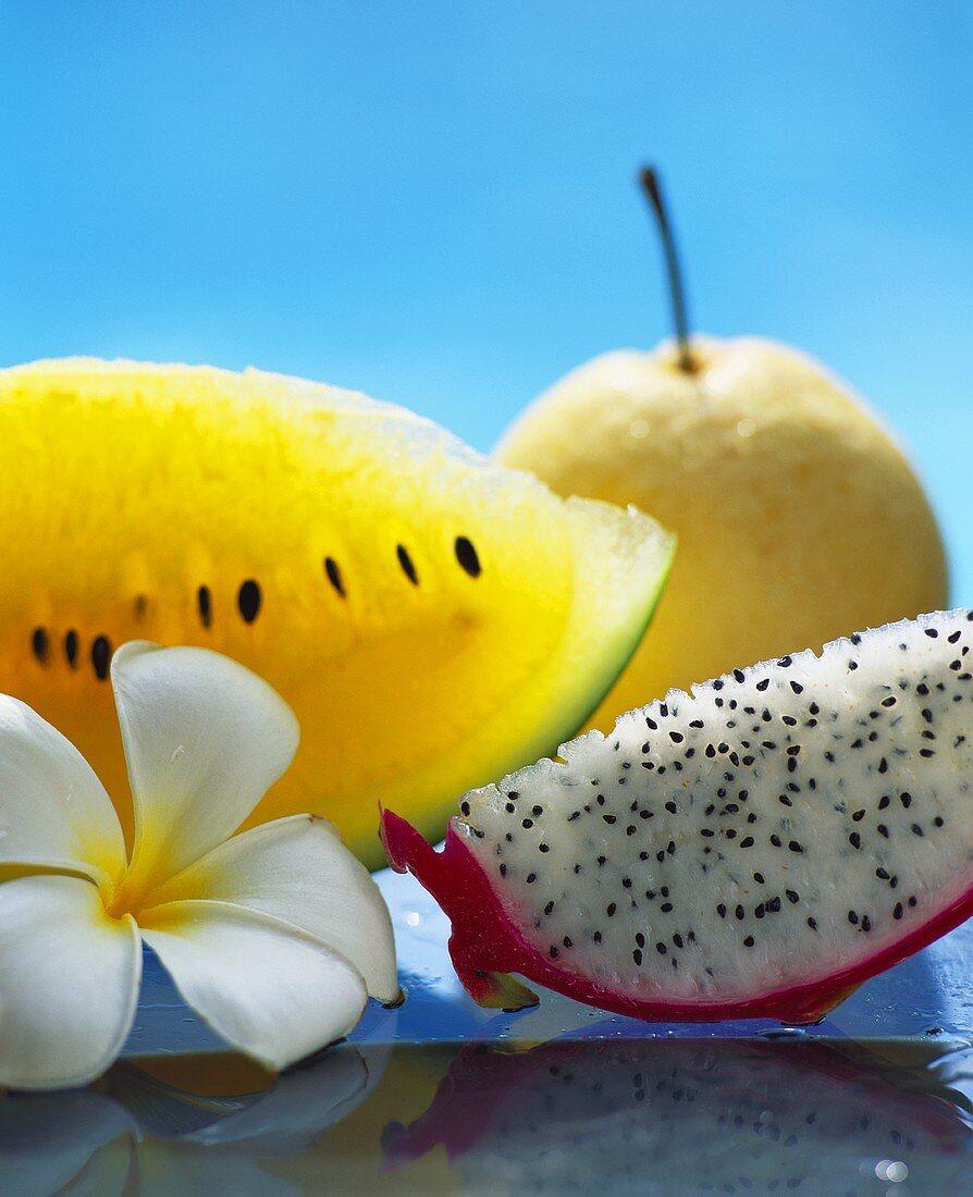 Still life with pitahaya, yellow watermelon & nashi fruit