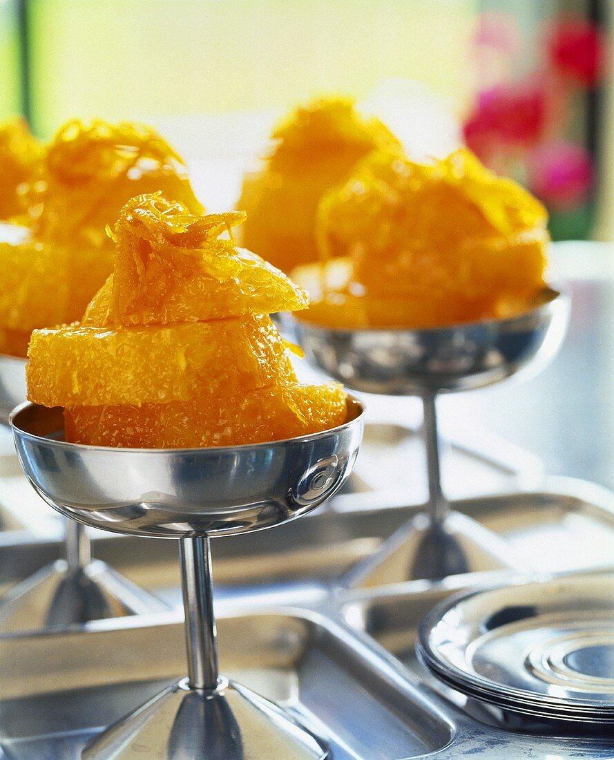 Orange dessert in sundae dishes