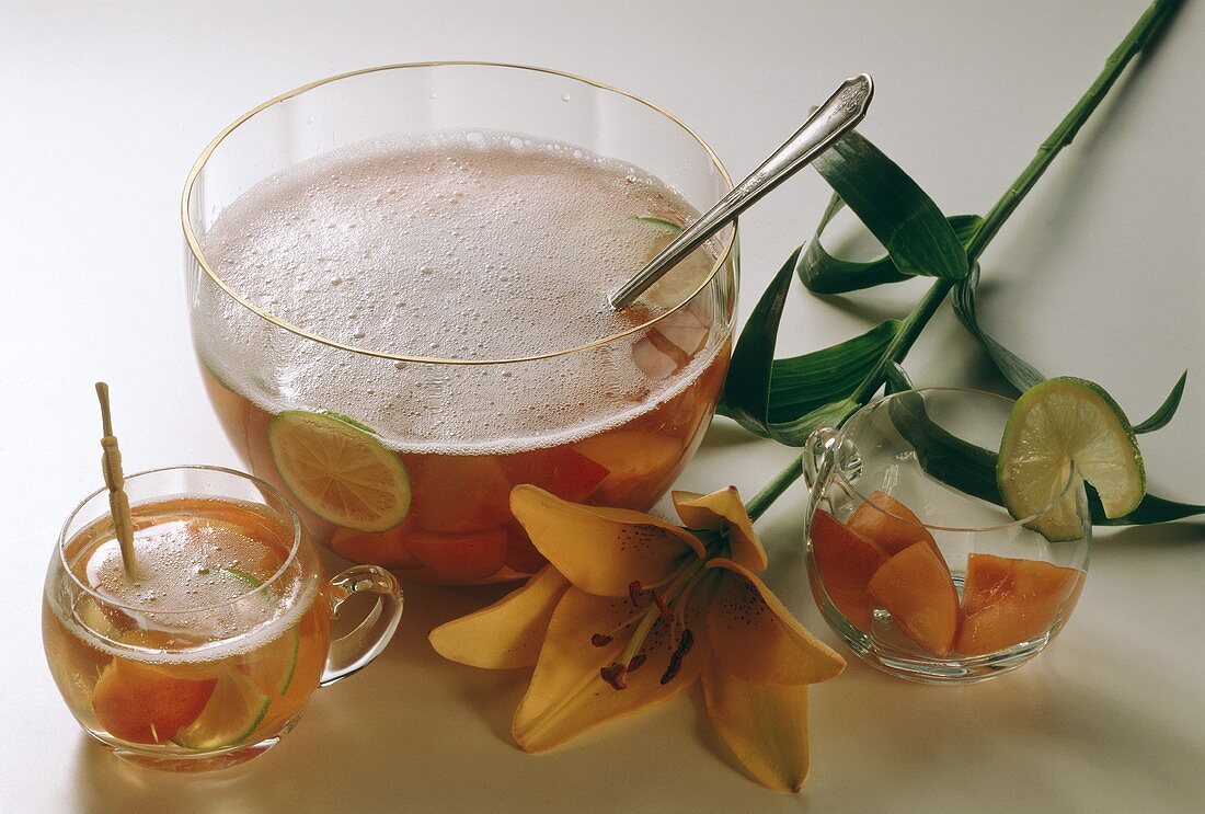 Peach Punch; Punch Bowl and Glass