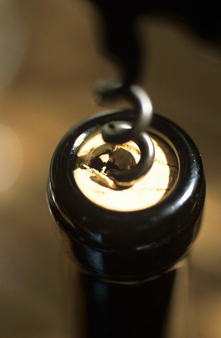 Uncorking a wine bottle