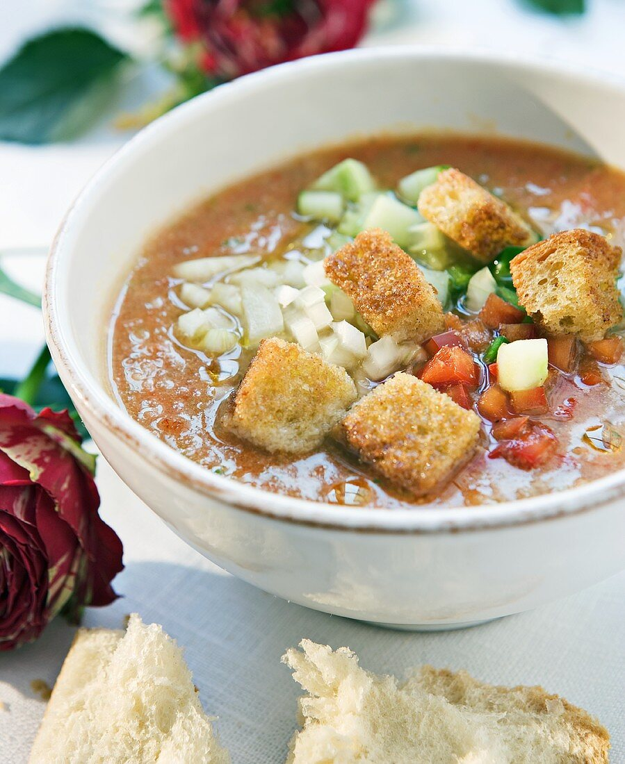 Gazpacho with chopped vegetables and croûtons