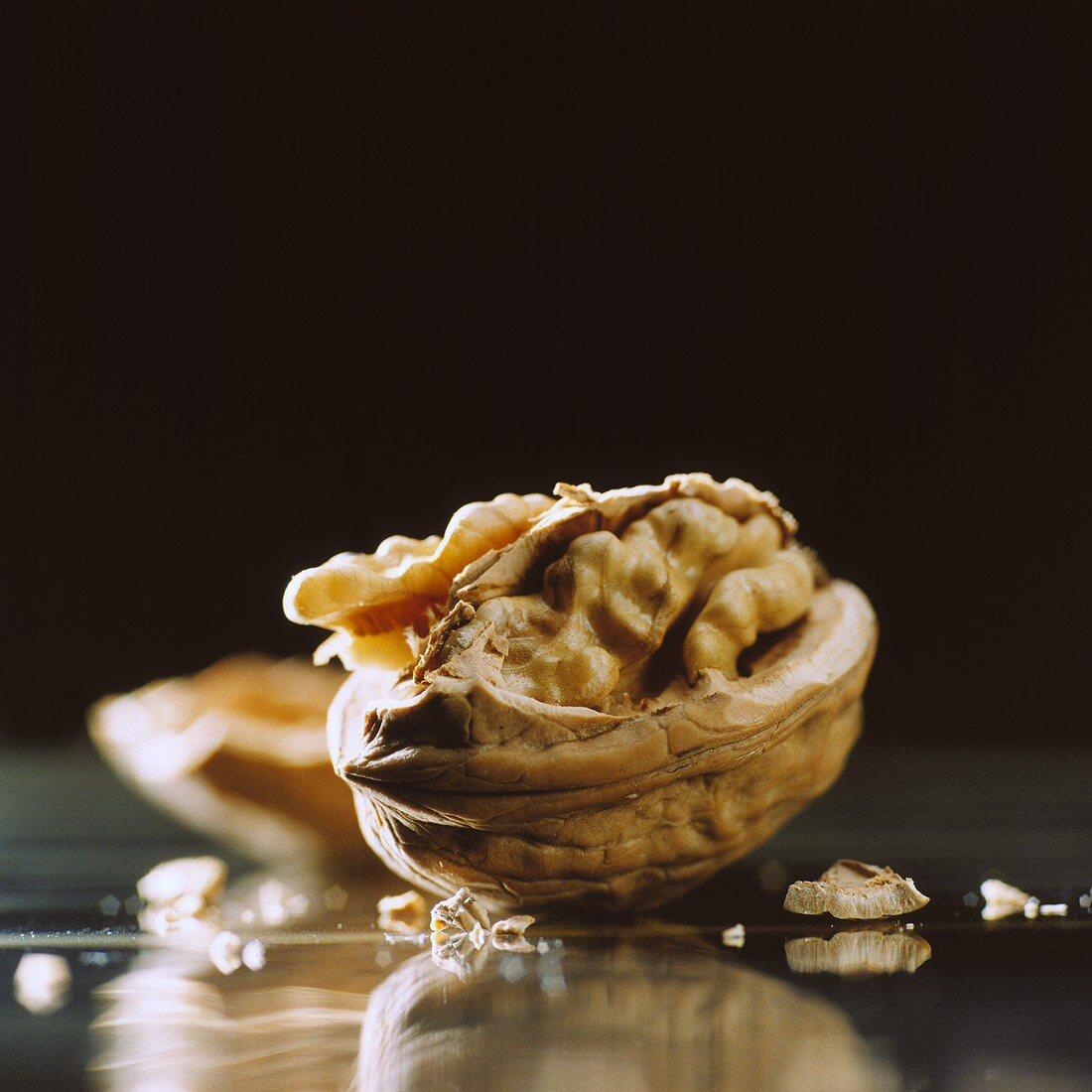 A walnut with broken shell