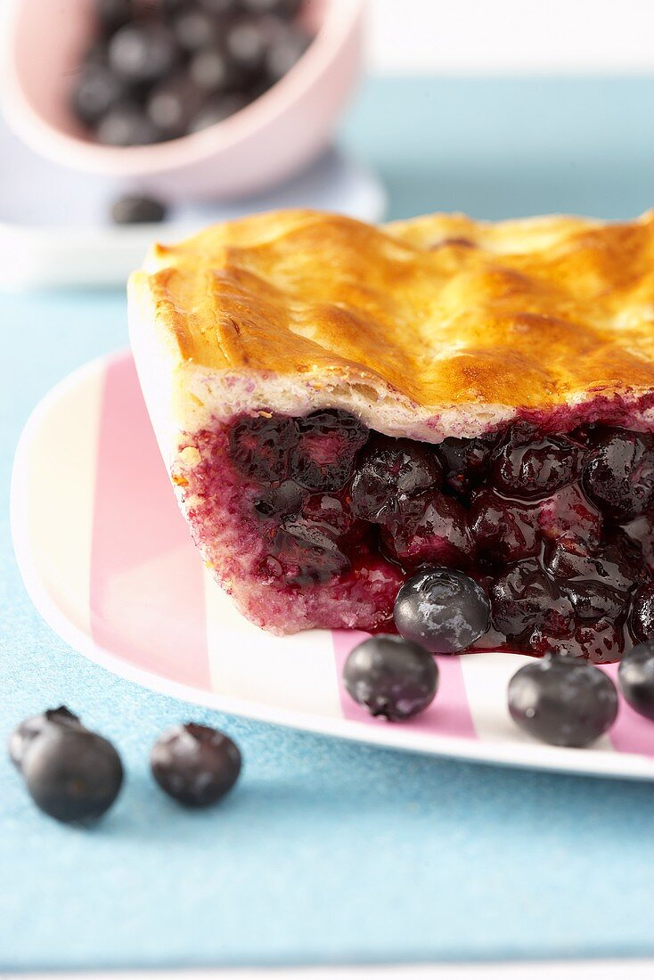 Blueberry pie, showing the filling