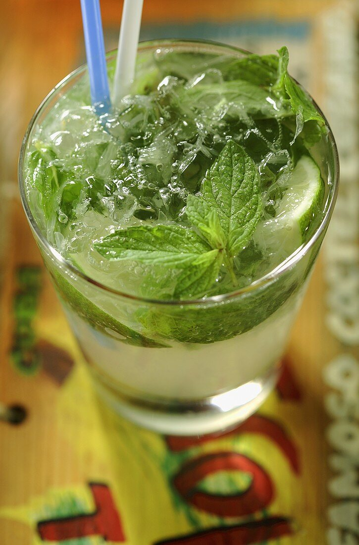 Mojito with lime and fresh mint (Cuba)