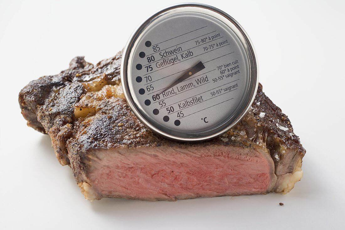 Fried beef steak with meat thermometer
