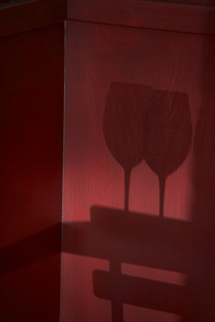 Shadows of two wine glasses on a wooden wall