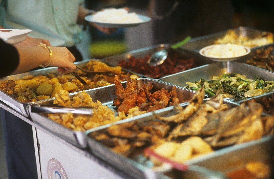 Assorted dishes on a street stall (Malaysia)