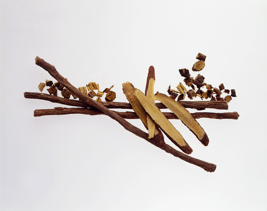 Liquorice roots on sheet of glass