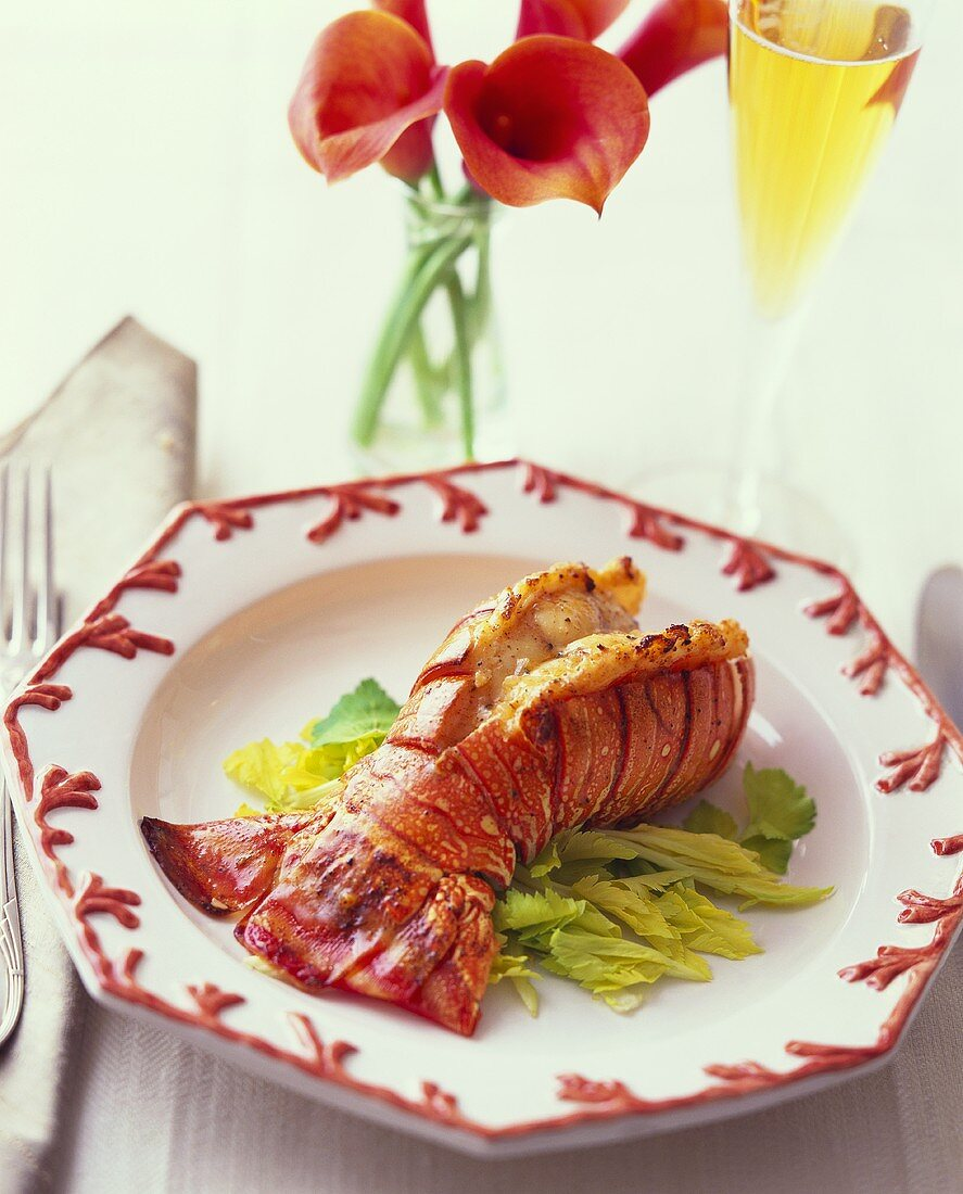 Grilled lobster tail on salad