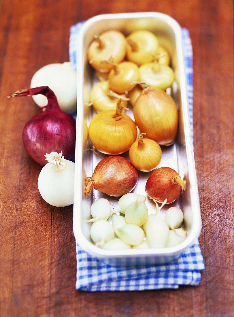 Various types of onions in an aluminium baking dish