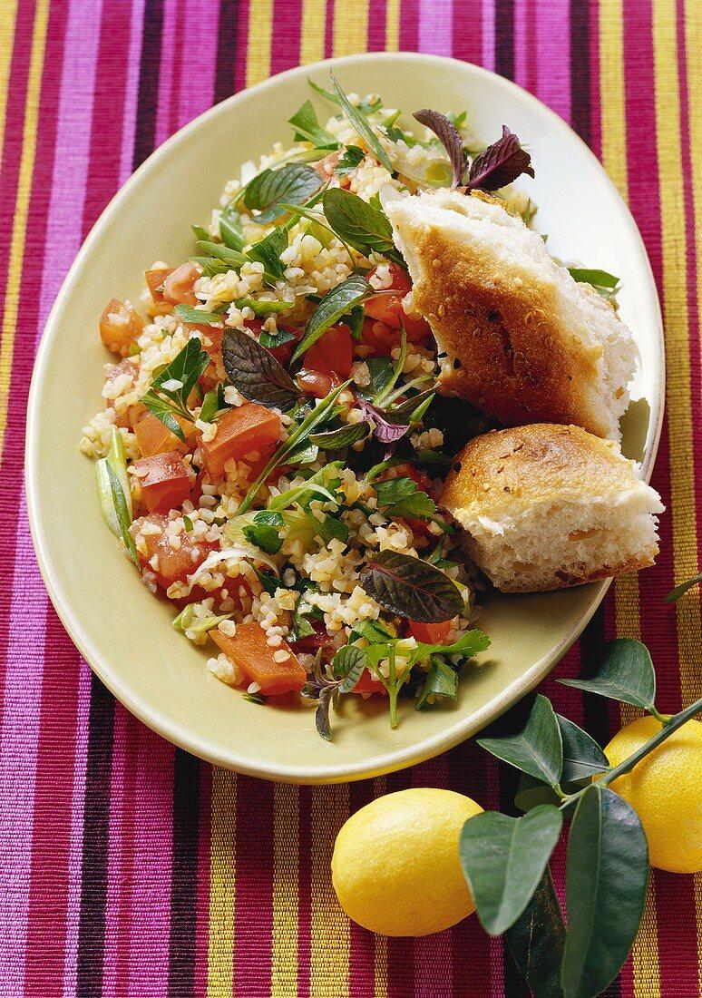 Tabbouleh with tomatoes and herbs (bulgur salad, Jordan)