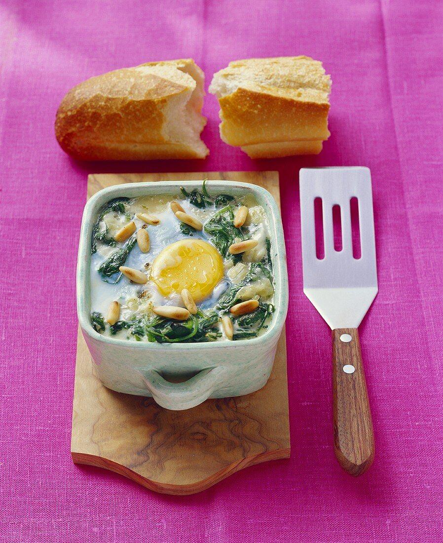 Uova alla fiorentina (spinach and egg bake), Tuscany, Italy