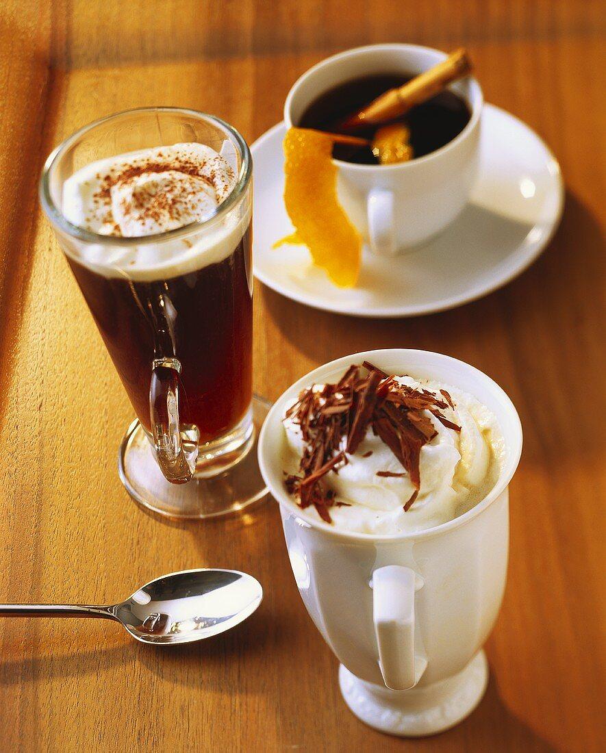 Irish coffee, Café brulôt and Rüdesheim coffee