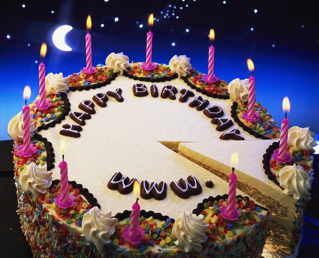 Birthday cake with the words 'Happy Birthday www.'