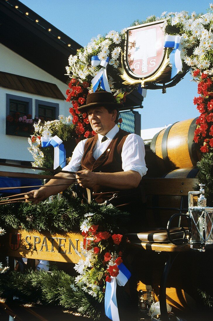 Brewer's Drayman on a festively decorated Carriage