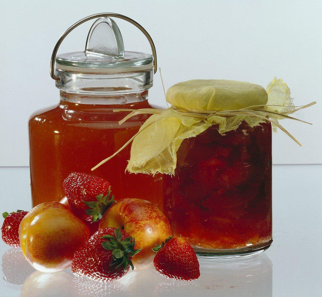 Strawberry Jam & Nectarine Jam in a Jar