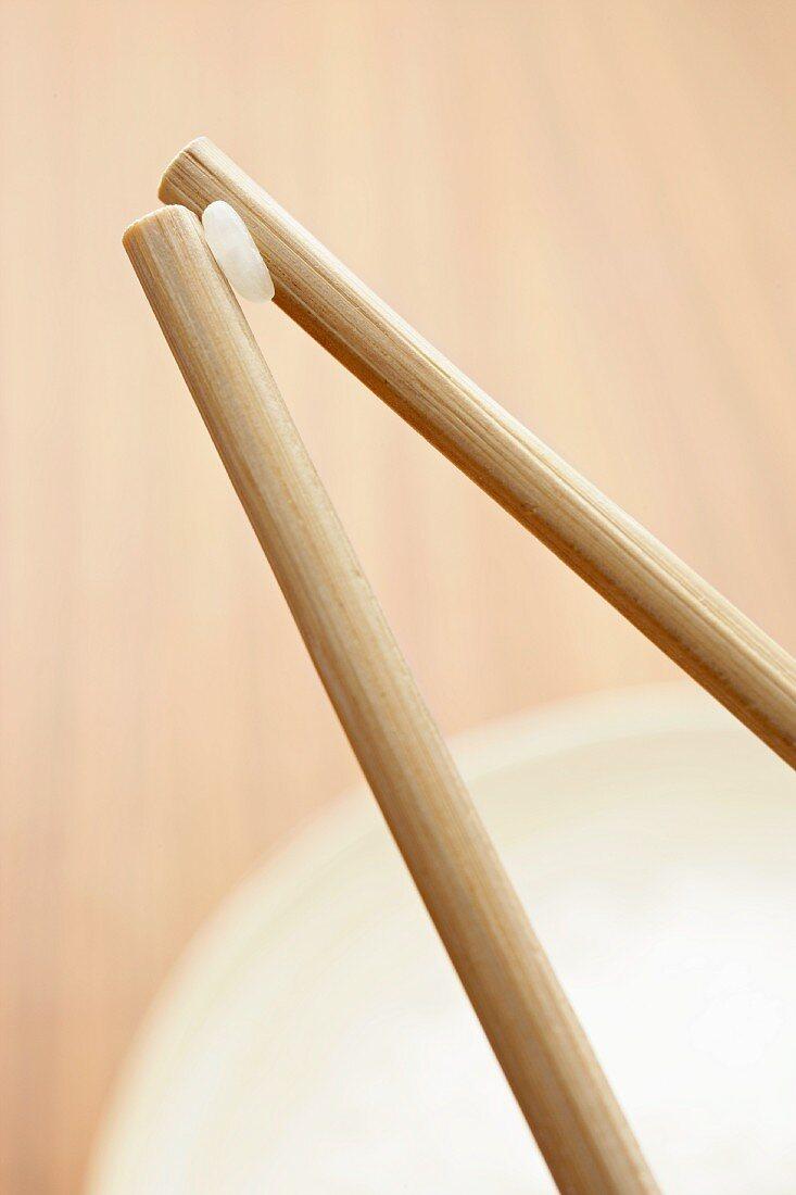 Grain of rice held between chopsticks