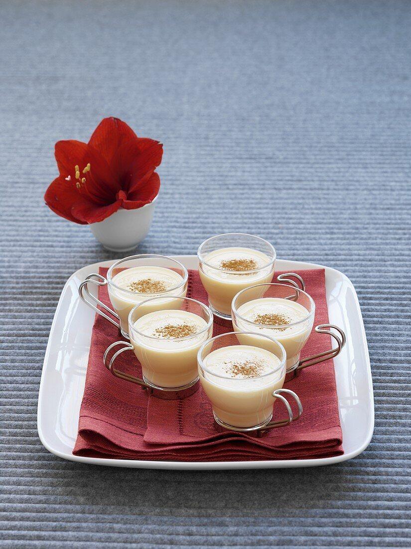 Eggnog in glass cups
