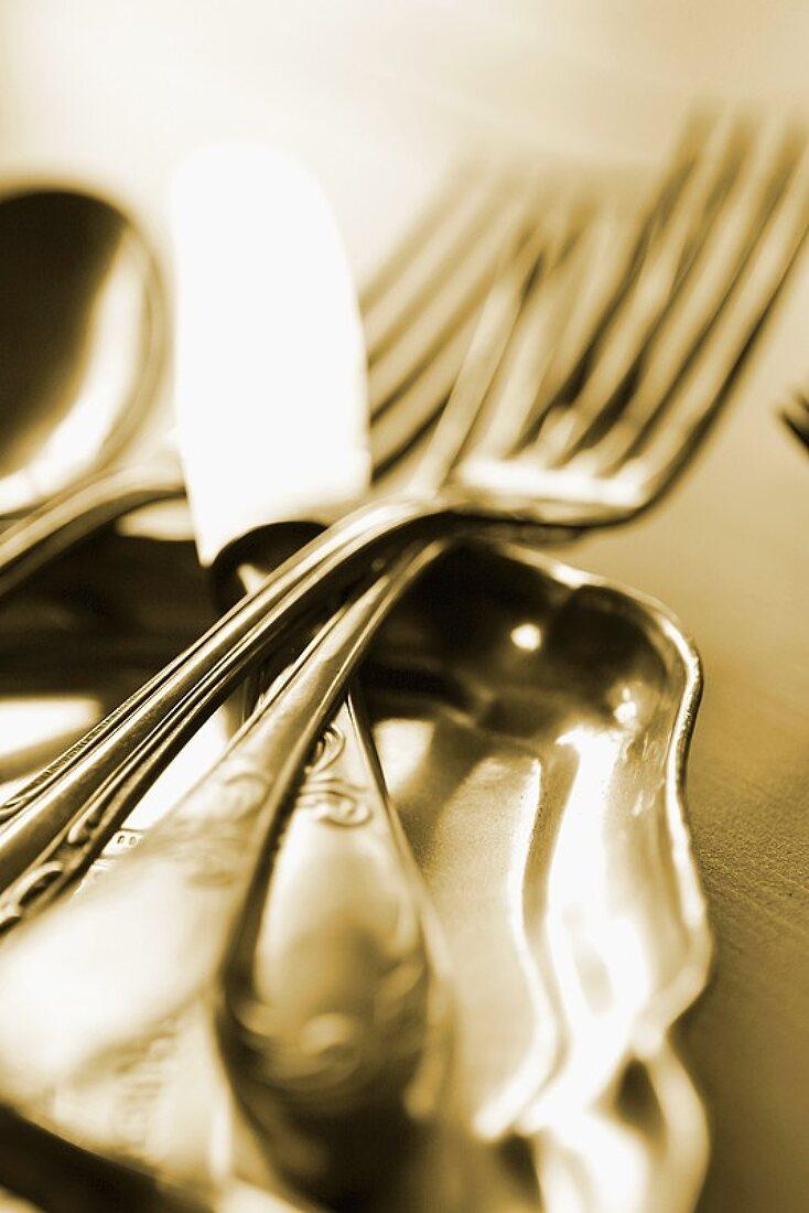 Cutlery on silver tray