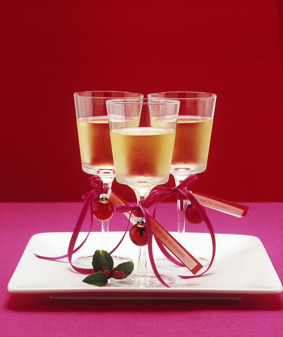 Three glasses of a Christmassy aperitif