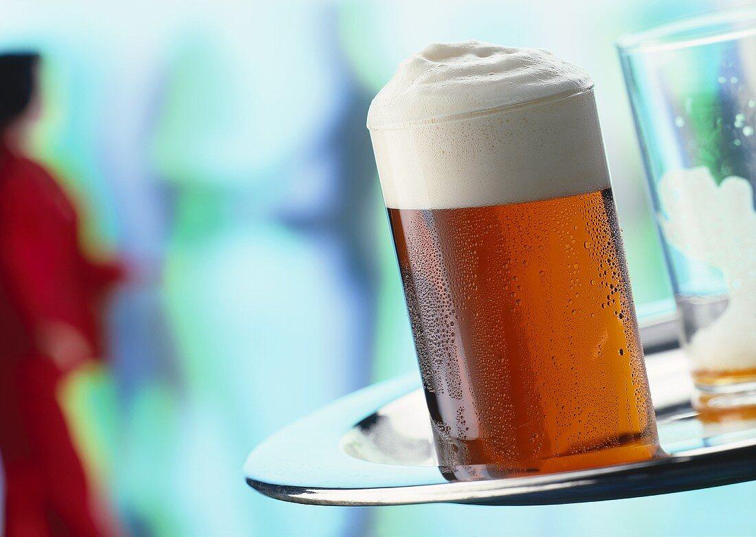 Altbier (German top-fermented beer) on tray