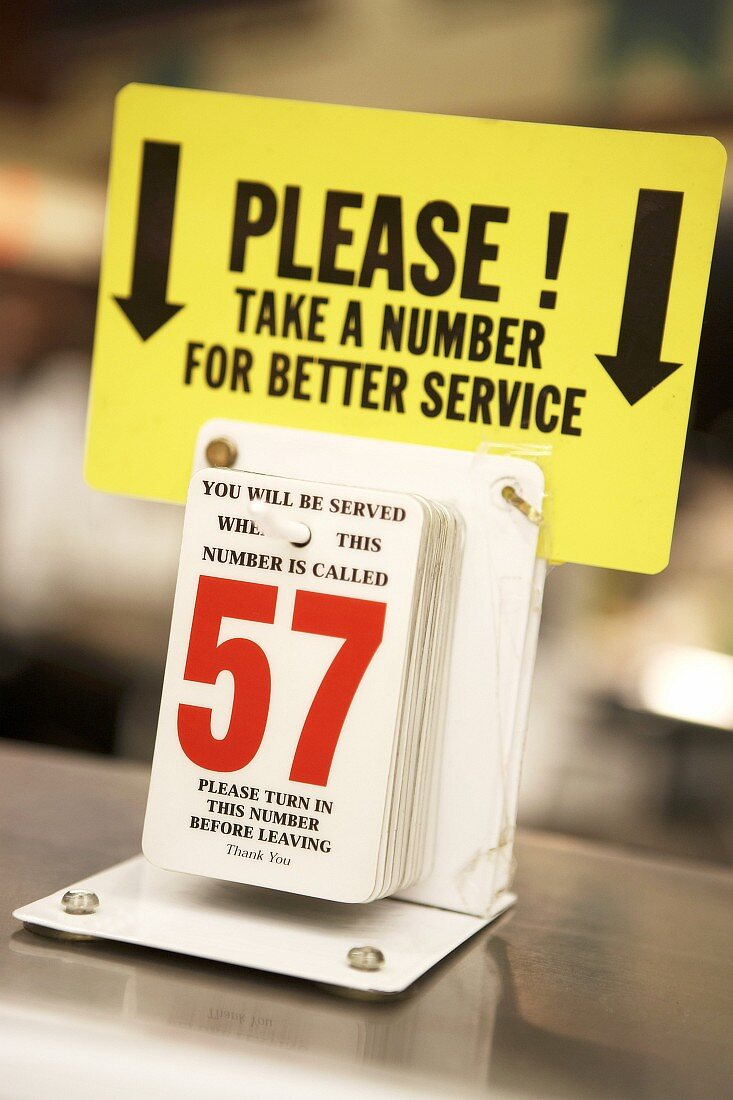 Numbers to take for service