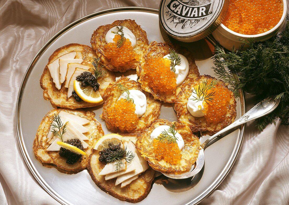 Buckwheat Pancakes and Potato Pancakes with Caviar