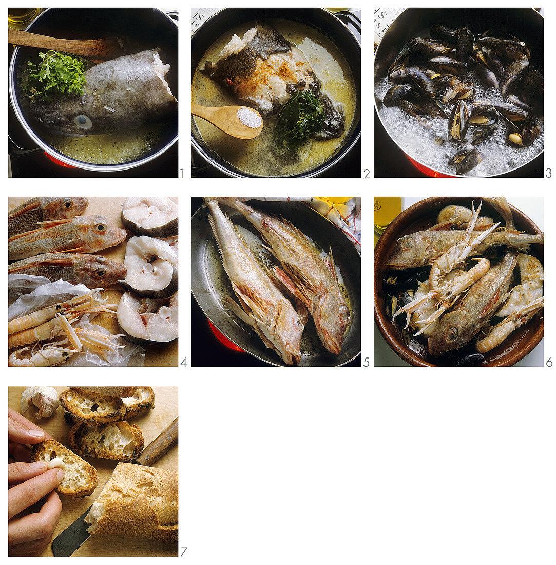 Preparing ttorro (fish ragout)