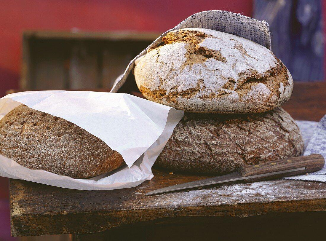 Three Coarse Rye Breads