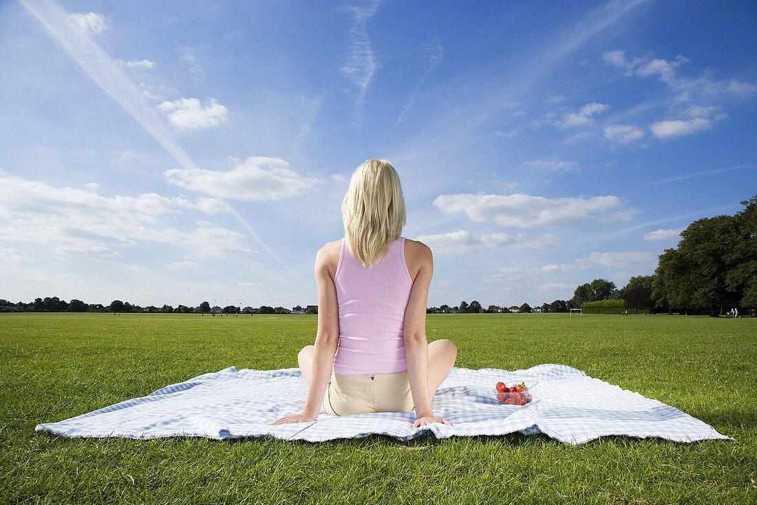 Young woman on blanket in park