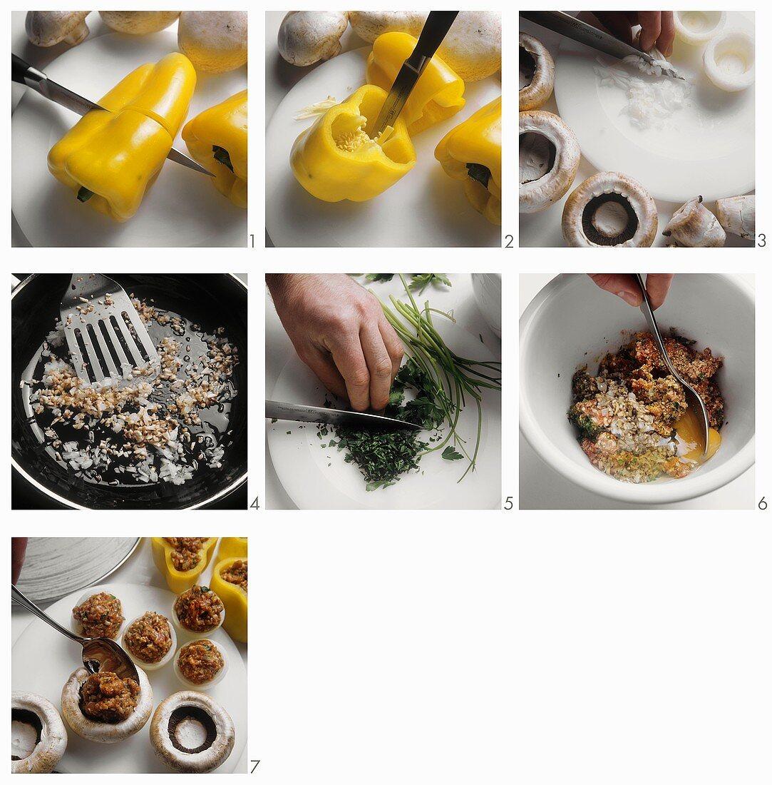 Preparation of Stuffed Yellow Bell Pepper