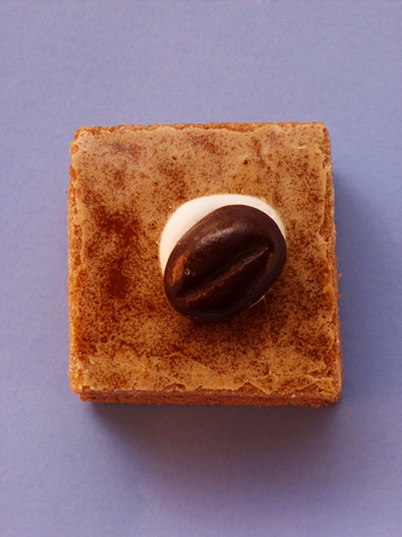 Gingerbread square with mocha bean