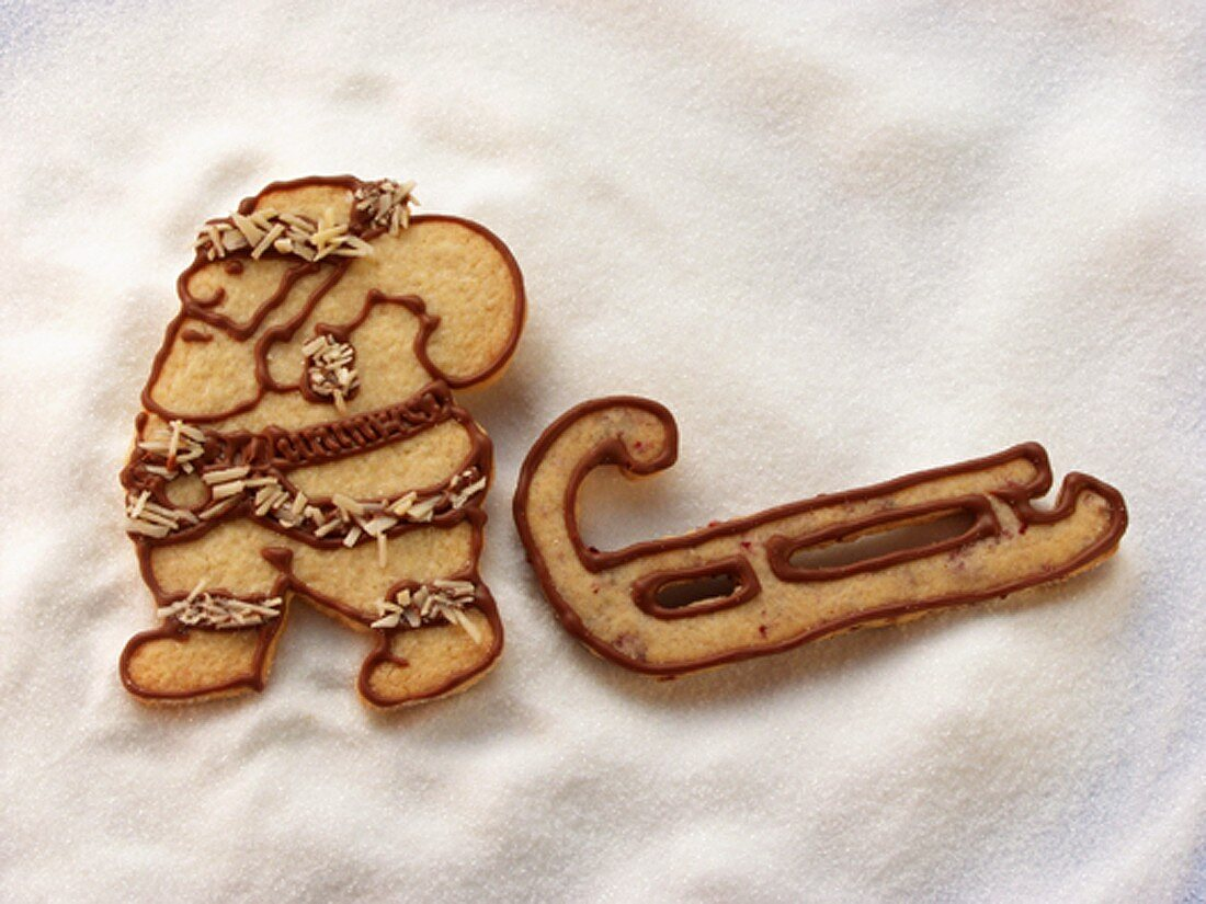 Father Christmas and sleigh in sweet pastry